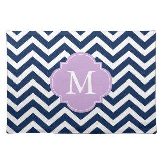Blue & Lavender Chevrons Pattern Monogram Place Mat