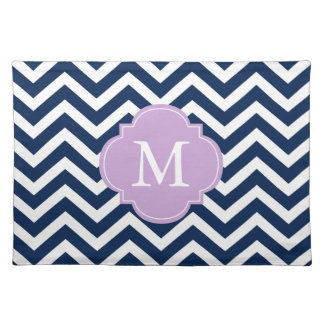 Blue & Lavender Chevrons Pattern Monogram Placemat