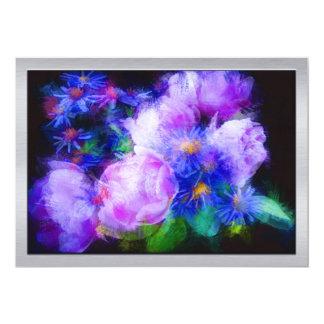 Blue & Lavender Daisies & Peonies 13 Cm X 18 Cm Invitation Card