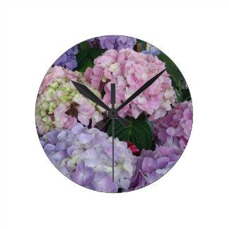 Blue Lavender Hydrangeas Round Clock