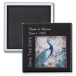 Blue Lavender Peacock Watercolor Save The Date Square Magnet