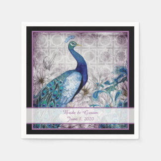 Blue Lavender Peacock Watercolor Wedding Napkins Disposable Serviette
