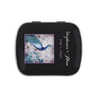 Blue Lavender Peacock Wedding Candy Tins