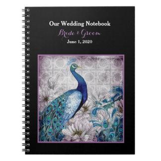 Blue Lavender Peacock Wedding Notebook