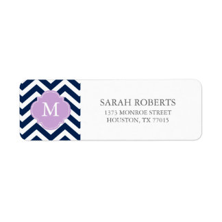 Blue & Lavender Zigzags Pattern Monogram