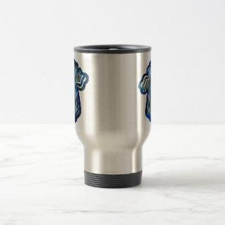 Blue Layered Cross Travel Mug
