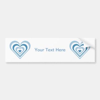 Blue Layered Heart Bumper Sticker