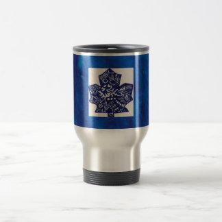 blue leafs stainless steel travel mug