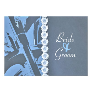 Blue Leather and Daisies Biker Wedding Invitation