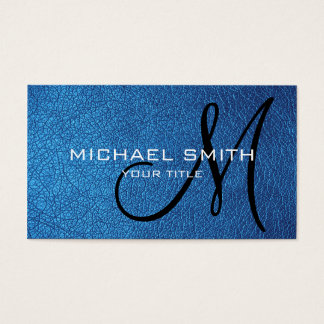 Blue leather business card