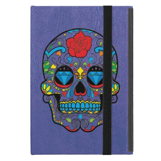 Blue Leather Print & Colourful Floral Sugar Skull