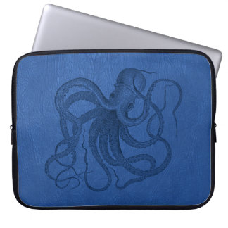 Blue Leather Print & Nautical Octopus Laptop Computer Sleeves