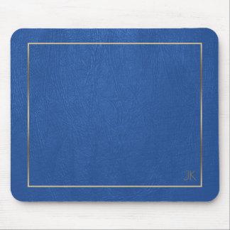 Blue Leather Texture Gold Frame-Custom Monogram Mouse Mat