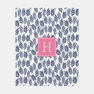 Blue Leaves and Pink Monogram Fleece Blanket