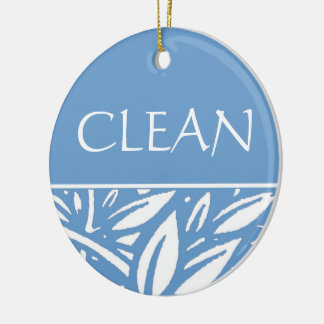 Blue Leaves Clean Dirty Dishwasher Hanger Christmas Ornament