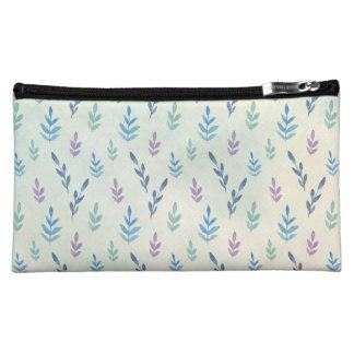 Blue leaves medium cosmetic bag