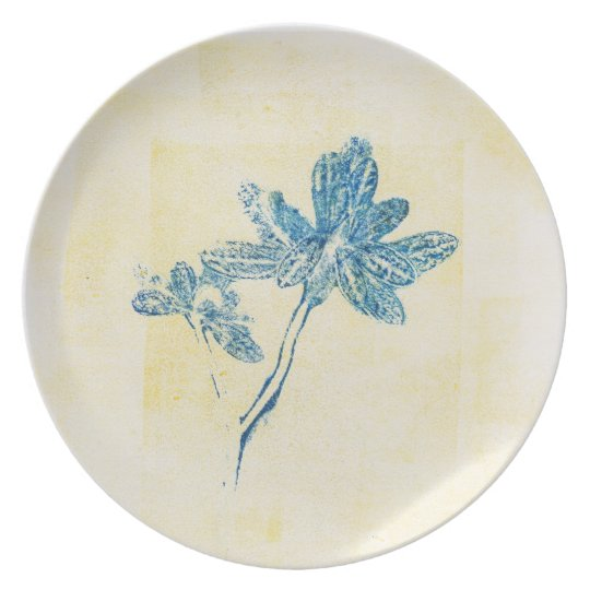 Blue Leaves Monoprint  Plate