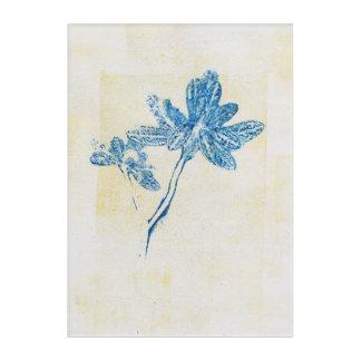 Blue Leaves Monoprint Print Acrylic Print