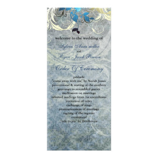 blue leaves winter wedding program customised rack card