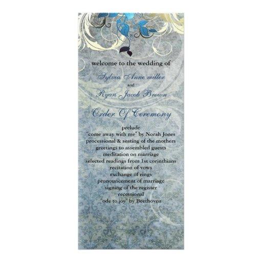 blue leaves winter wedding program rack card design