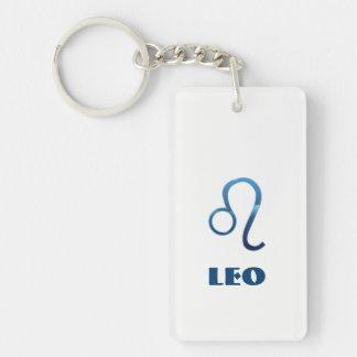 Blue Leo Zodiac Signs On White Key Ring
