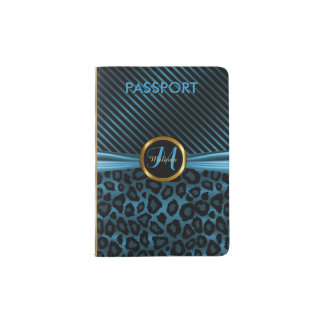 Blue Leopard Animal Print - Monogram Passport Holder
