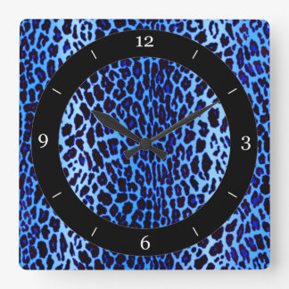 Blue Leopard Animal Print Square Wall Clock
