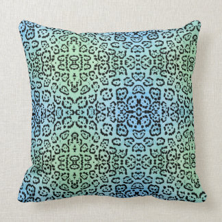 Blue Leopard Cat Animal Oil Paint Effect Green Cushion