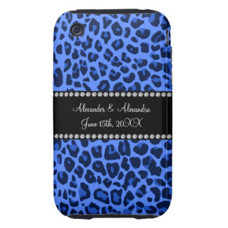 Blue leopard pattern wedding favors tough iPhone 3 case