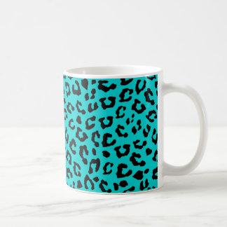 Blue Leopard Print Aqua Turquoise Black Spots Mug