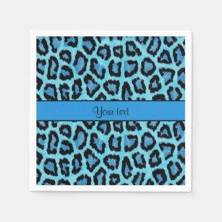 Blue Leopard Print Disposable Serviette