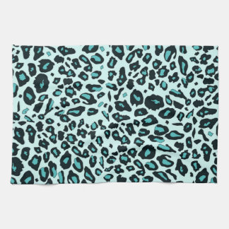 Blue leopard print hand towels
