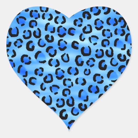 Blue Leopard Print Pattern. Heart Sticker