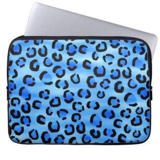 Blue Leopard Print Pattern. Laptop Sleeve
