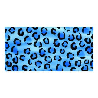 Blue Leopard Print Pattern. Picture Card