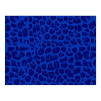 Blue leopard print pattern postcard