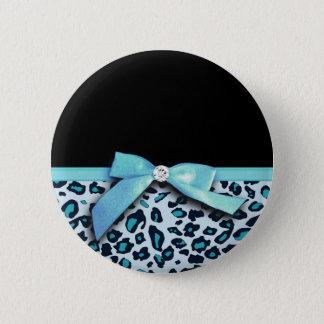 Blue leopard print ribbon bow graphic 6 cm round badge