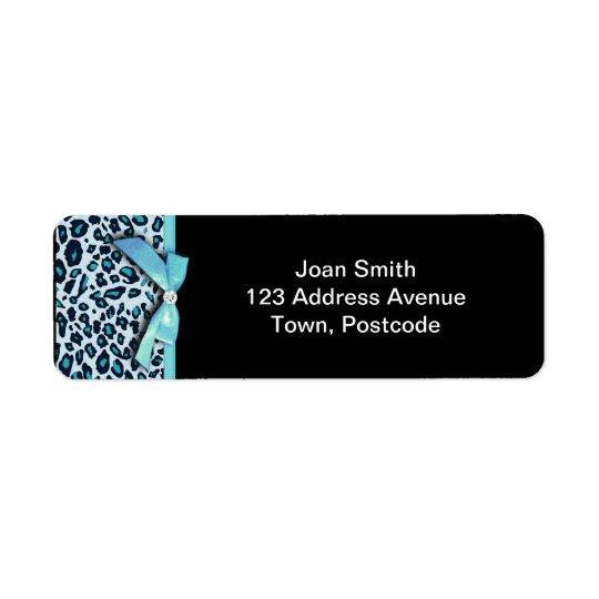 Blue leopard print ribbon bow graphic return address label