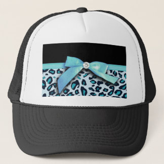 Blue leopard print ribbon bow graphic trucker hat
