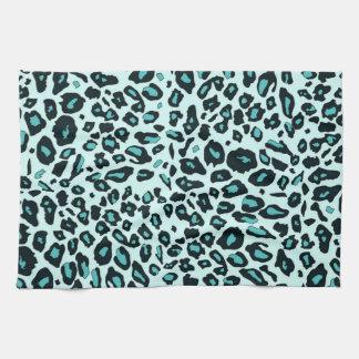 Blue leopard print tea towel