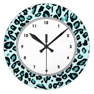 Blue leopard print wallclocks
