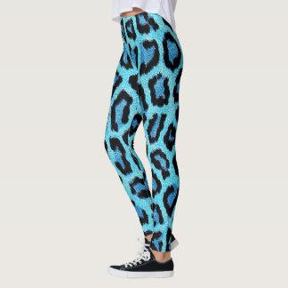 Blue Leopard skin pattern Leggings