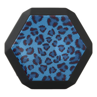 blue leopard texture pattern black bluetooth speaker