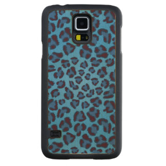 blue leopard texture pattern carved maple galaxy s5 case