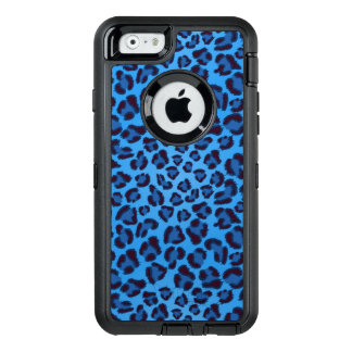 blue leopard texture pattern OtterBox defender iPhone case