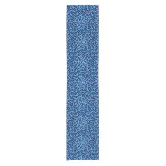 blue leopard texture pattern short table runner