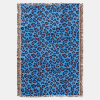 blue leopard texture pattern throw blanket