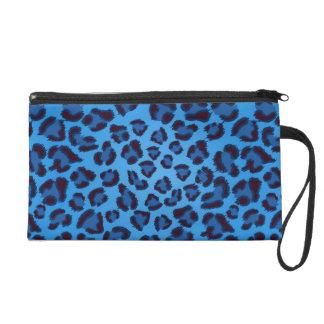 blue leopard texture pattern wristlet