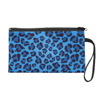 blue leopard texture pattern wristlet clutches