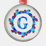 Blue Letter G Monogram Red Stars Ornaments